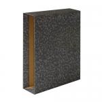 Caja para archivador de palanca tamaño folio lomo ancho color negro jaspeado Grafoplás