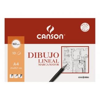 Canson 200409784 - Láminas de dibujo lineal, sin recuadro, A4, sobre de 10 hojas, 160 gramos