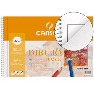 Canson Basik 200408061 - Láminas de dibujo, con recuadro, bloc con espiral, A4+, 20 hojas, 130 gramos