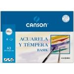 Canson Guarro Basik 200402393 - Papel acuarela, A3, 370 gramos, sobre de 6 hojas