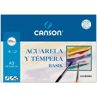 Canson Guarro Basik 200402393 - Papel acuarela, A3, sobre de 6 hojas, 370 gramos