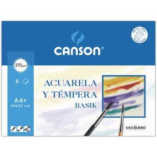 Canson Guarro Basik 200406347 - Papel acuarela, A4+, sobre de 6 hojas, 370 gramos