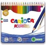 Carioca Acquarell - Lápices de colores acuarelables, caja metálica de 24 colores