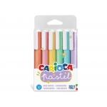 Carioca - Rotulador fluorescente, punta biselada, colores surtidos pastel, estuche de 6 unidades