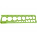 Csp 156000 - Plantilla de círculos, plástico, trazo de los circulos de 1 a 35 mm, verde
