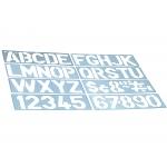Csp 1700 - Plantilla de rotulación, letras y números, plástico, tamaño 50 mm, transparente