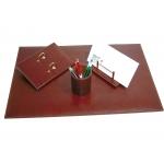 Csp - Escribanía de sobremesa, piel, 4 piezas, color marrón