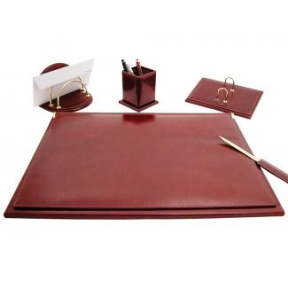 Csp - Escribanía de sobremesa, piel, 5 piezas, color marrón