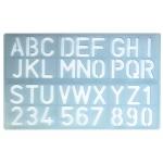 Csp P-1600 - Plantilla de rotulación, letras y números, plástico, tamaño 30 mm, transparente