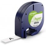 Dymo LetraTag S0721510 - Cinta para rotuladora, 12 mm x 4 mt, impresión negra sobre fondo blanco, papel