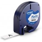 Dymo LetraTag S0721610 - Cinta para rotuladora, 12 mm x 4 mt, impresión negra sobre fondo blanco perla, plástico