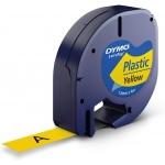 Dymo LetraTag S0721620 - Cinta para rotuladora, 12 mm x 4 mt, impresión negra sobre fondo amarillo, plástico