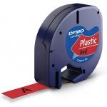 Dymo LetraTag S0721630 - Cinta para rotuladora, 12 mm x 4 mt, impresión negra sobre fondo rojo, plástico