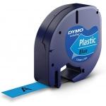 Dymo LetraTag S0721650 - Cinta para rotuladora, 12 mm x 4 mt, impresión negra sobre fondo azul, plástico