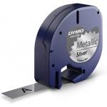 Dymo LetraTag S0721730 - Cinta para rotuladora, 12 mm x 4 mt, impresión negra sobre fondo plata, plástico