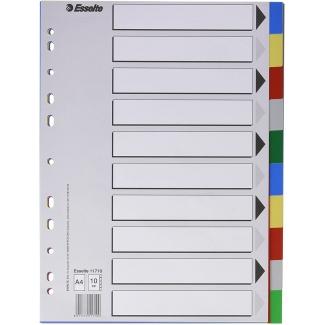 Esselte 11710 - Separador de plástico, A4, 10 pestañas, multicolor