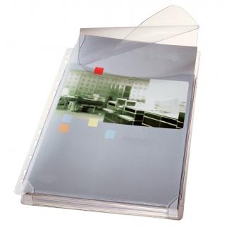 Esselte 47573003 - Funda multitaladro con fuelle, A4, con solapa superior, 170 micras, cristal, pack de 5 fundas