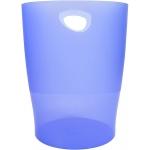 Exacompta 45310D - Papelera de plástico, con asas, 15 litros, color azul hielo translúcido