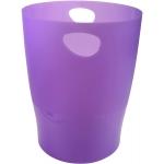 Exacompta 45319D - Papelera de plástico, con asas, 15 litros, color violeta translúcido
