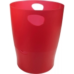 Exacompta 45324D - Papelera de plástico, con asas, 15 litros, color rojo translúcido