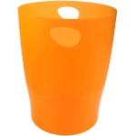 Exacompta 45352D - Papelera de plástico, con asas, 15 litros, color naranja translúcido