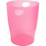 Exacompta 45354D - Papelera de plástico, con asas, 15 litros, color frambuesa translúcido
