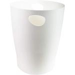 Exacompta 45357D - Papelera de plástico, con asas, 15 litros, color blanco hielo translúcido