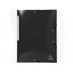 Exacompta 55821E - Carpeta de cartón con gomas, con tres solapas, tamaño A4+, color negro