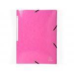 Exacompta 55824E - Carpeta de cartón con gomas, con tres solapas, tamaño A4+, color rosa