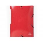 Exacompta 55825E - Carpeta de cartón con gomas, con tres solapas, tamaño A4+, color rojo