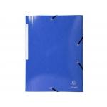 Exacompta 55832E - Carpeta de cartón con gomas, con tres solapas, tamaño A4+, color azul oscuro