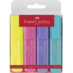 Faber-Castell 154610 - Rotulador fluorescente, punta biselada, colores pastel, estuche de 4 colores surtidos