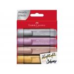 Faber-Castell 154640 - Rotulador fluorescente, punta biselada, colores metálicos, estuche de 4 colores surtidos