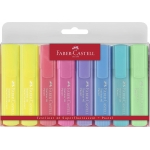 Faber-Castell 154681 - Rotulador fluorescente, punta biselada, colores pastel, estuche de 8 colores surtidos