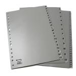 Grafoplás 44409071 - Separador de plástico, folio, alfabetico A-Z, color gris