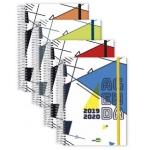 Liderpapel Classic - Agenda escolar, tamaño A5, impresión día página en catalán, tapa forrada, encuadernada con espiral, cierre con goma