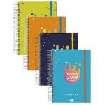 Liderpapel College - Agenda escolar, tamaño A5, impresión dos día página, tapa forrada, encuadernada con espiral, cierre con goma