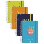 Liderpapel College - Agenda escolar, tamaño A5, impresión semana vista, tapa forrada, encuadernada con espiral, cierre con goma