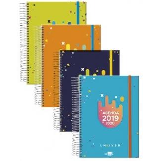 Liderpapel College Mini - Agenda escolar, tamaño 110x150, impresión semana vista, tapa forrada, encuadernada con espiral, cierre con goma