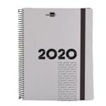 Liderpapel Olbia - Agenda anual, tamaño 15x21 cm, impresión día página, tapa polipropileno metalizado, encuadernada con espiral, color gris