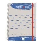 Liderpapel Tinos - Agenda anual, tamaño A5, impresión día página, tapa polipropileno personalizable, encuadernada con espiral, cierre con goma