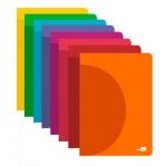 Liderpapel 360º LF14 - Libreta grapada, tamaño A4, tapa de plástico, 48 hojas de 90 gr, pauta ancha de 3,5 mm, con margen, colores surtidos