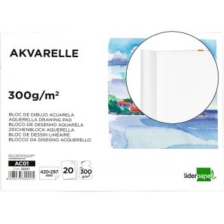 Liderpapel AC01 - Papel acuarela, sin recuadro, bloc encolado, A3, 20 hojas, 300 gramos