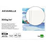 Liderpapel AC04 - Papel acuarela, sin recuadro, bloc encolado, A4, 20 hojas, 300 gramos