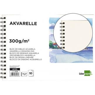 Liderpapel AC05 - Papel acuarela, sin recuadro, bloc con espiral, A4, 10 hojas, 300 gramos