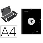 Liderpapel Antartik AW14 - Carpeta de cartón con gomas, con tres solapas, tamaño A4, color negro
