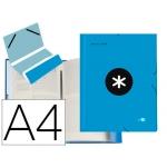 Liderpapel Antartik AW22 - Carpeta clasificadora con gomas, una solapa, tamaño A4, 12 departamentos, color azul