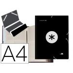 Liderpapel Antartik AW24 - Carpeta clasificadora con gomas, una solapa, tamaño A4, 12 departamentos, color negro