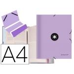Liderpapel Antartik AW55 - Carpeta clasificadora con gomas, una solapa, tamaño A4, 12 departamentos, color lavanda