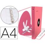 Liderpapel Antartik AW62 - Carpeta de anillas, 4 anillas mixtas de 40 mm, cartón forrado, tamaño A4, color coral